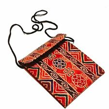 Leather Hand Tooled Passport Holder Bag Pouch Geometric Shapes Theme