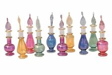 Egyptian Perfume Bottles Set of 10 Hand Blown Decorative Pyrex Glass Vials 2 5