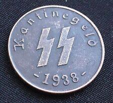 50 REICHSPFENNIG 1938 SS KANTINEGELD GERMAN RARE COIN 3RD REICH WW2 HITLER