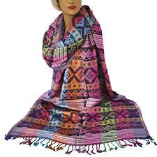 Damenschal Maya weicher Schal Inka Muster 200x70cm Viskose Warm Bunt XL Ethno 1