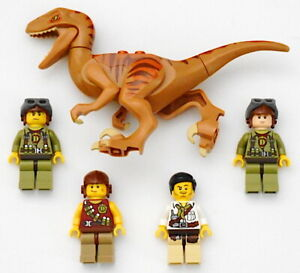 LEGO 5887 Jurassic World Dino Raptor Pilot 5 Pc Assorted  Minifig Lot Authentic