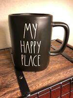 "Rae Dunn ""MY HAPPY PLACE"" Coffee Mug BRAND NEW** Black Ceramic LL"