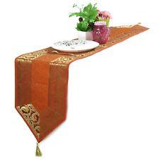"Orange Tablecloth Brocade Table Runner Dining Room Kitchen Decor Runner 12""X72"""