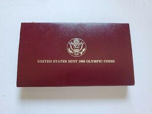 1988-D 1988D 1988 D U.S. Mint Olympic Proof Silver Dollar Coin Box Sleeve & COA
