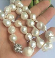 "SOUTH SEA WHITE BAROQUE PEARL NECKLACE 18 ""Crystal CL NEW 10-16mm"