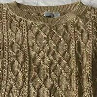 Moda Gold Sweater Lame Metallic Women's Holiday Christmas New Years C4