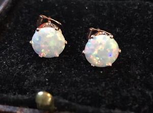 Vintage Style Jewellery Opal Earrings 18K Rose Gold Plated