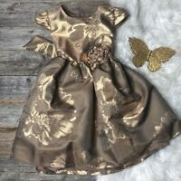 Bonnie Jean Dress Brown Bronze Floral 4T
