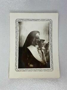 Nun In Habit Profile Glasses Stern Vintage B&W Photograph Snapshot 2.5 x 3.75