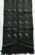 """Vintage Embroidered Paisley 45"""" Scarf, Acetate, Black with Green, Purple, Beige"""