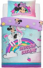 Official Disney Minnie Mouse Single Bed Duvet Cover Set Rainbow Unicorn Dreams