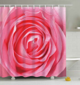 Pink Rose SHOWER CURTAIN 70x70 Fabric w/Hooks Flower Floral Close Up