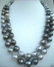 3812-13mm natura tahitian black gray pearl necklace DA38