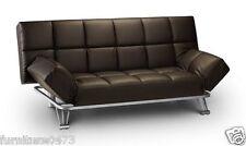 Brown Faux Leather Sofa Bed W180cm x D91cm x H86cm HATTAN