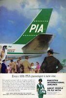 1965 Pakistan International Airlines PRINT AD PIA Boeing 720B departing