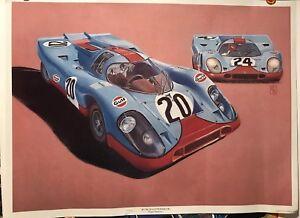 917KGulf/ Porsche Artwork Roger Redford 1983 Car Poster!