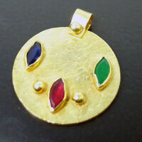 Handmade Large Ruby Emerald Sapphire Pendant 22K Gold over 925K Sterling Silver