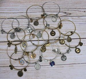 Lot of 18 Alex and Ani Donut Feather Sorority Mom Letter Gold Silver Bracelets