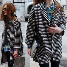 NWT HELENE BERMAN Pink Black Checker Wool Blend Coat Size L Made in ENGLAND $320