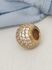 Authentic Pandora 14k 14ct Gold Pave CZ Shimmering Charm 750819CZ
