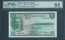 MALAWI 2 Kw P7a 1964 (1971) PMG 64 rare and beautiful note.