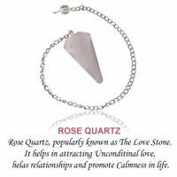 Rose Quartz Six Faceted Crystal Pendulum Healing Dowsing Reiki Chakra Gemstone