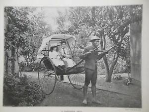 Victorian Photo Illustration (1897) Natal South Africa Rickshaw, Zulu Carriage