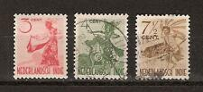 Nederlands Indie Indonesie 334-336 used Inheemse dansers 1948 Netherlands Indies