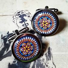Unique TRADITIONAL SPANISH TILE 'Passion Flower' CUFFLINKS blue MOROCCO spain