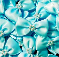 Pack of 10 - BABY BLUE 3.5cm Satin Ready Made Mini Ribbon and Pearl Craft Bows