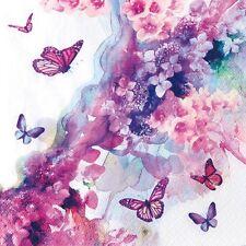 4 x Single Paper Table Napkin/Decoupage/Scrapbook/Butterfly/Pink Flowers/Dreamer