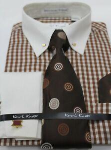 Mens Brown Check Cream Pin Collar Bar Double Cuff Dress Shirt Karl Knox 4463 S