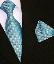 Binder de Luxe Designer Krawatte Einstecktuch Krawatten Set Tie 145 Türkis 2 Tlg