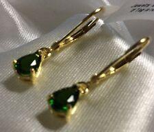 1.5 Ct RussianDiopside Earrings, Lever Back, Drop, 14K Y Gold On Sterling Silver