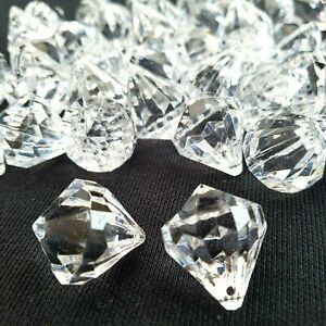45 Pcs Clear Large Acrylic Diamond Shape Gems Decorative Hanging Beads Curtains