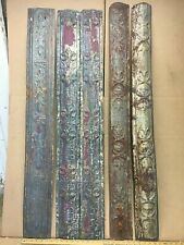 """5pc Mix Lot 48"""" x 5"""" Curved Molding Antique Ceiling Tin Vintage Reclaim Salvage"""