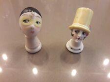 ART DECO porcelaine allemande 2 têtes de garçonnes