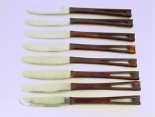 8 STEAK KNIVES BROWN PLASTIC HANDLE STAINLESS COOKING KITCHEN FOOD MEAT