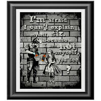 Banksy art and Alice in Wonderland Print on Dictionary Book Page, Wall Decor