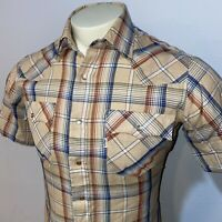 Vtg 70s 80s LEVIS Western Shirt Tan Plaid Pearl Snap Levi's SOFT Mens MEDIUM