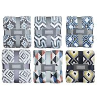 nEw TEXTURED MULTICOLOR THROW - 50x60 Patterned Geometric Microfiber Blanket