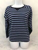 Karen Scott Long Sleeve Pullover Knit Top Womens L Blue Striped Cropped Top R