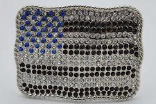Big Silver Metal Western Fashion Belt Buckle 3D United States Flag Rhinestones