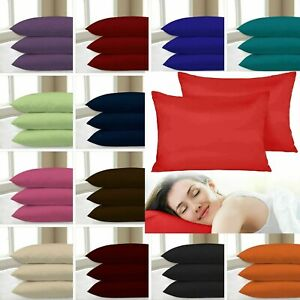 2X PILLOW CASE LUXURY CASES POLY COTTON HOUSEWIFE PAIR BEDROOM PILLOW COVER PACK