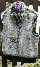 Ladies Faux Fur Gilet Bodywarmer GEORGE UK Size 12/EUR 40 Grey Black lining Warm