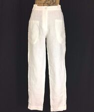 100% Linen Skinny Pant CANNISSE Lupin 2 Small White Cargo Pocket Unique Washable