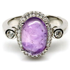 NATURAL 8 X 12 mm. PURPLE AMETHYST & WHITE CZ 925 STERLING SILVER RING SZ 7