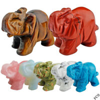 Elephant Statue Gemstone Jasper Opal Rock/Rose Quartz Animal Figurine Decor