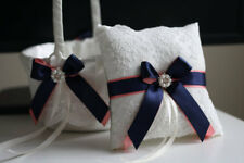 Lace Bearer Pillow Navy Blue and Coral Wedding Flower Lace Ring Girl Basket Set