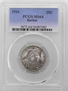 1916 P PCGS Certified MS64 Silver U.S. Quarter Barber 25C Toned Graded Coin